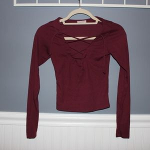 Tops - Maroon Lace Front Crop Top